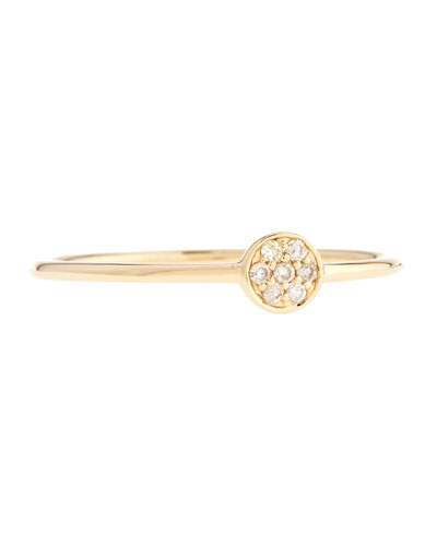 14 Tiny Disc Ring with Diamonds, Size 6.5