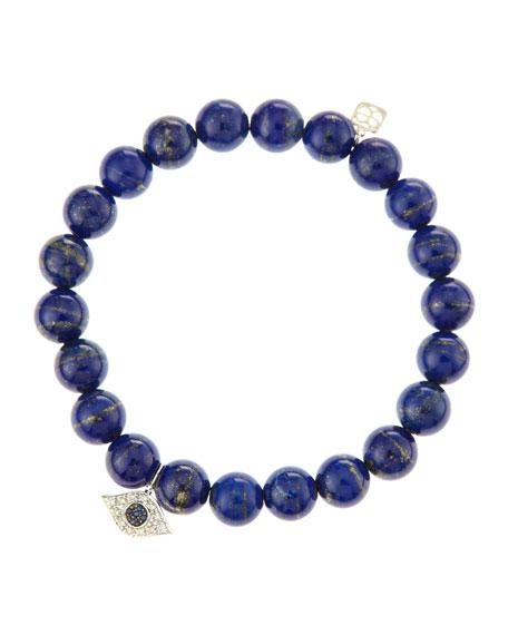 Evil Eye Lapis Bead Bracelet with Diamonds and Sapphire