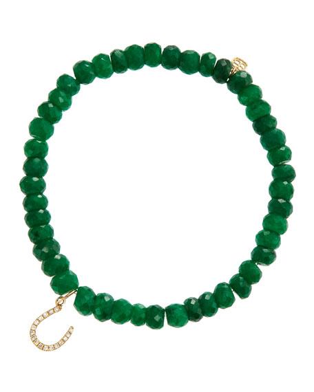 Horseshoe Emerald Bead Bracelet with Pavé Diamonds