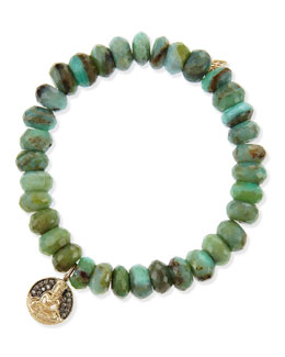 Buddha Medallion Green Opal Bead Bracelet with Champagne Diamonds