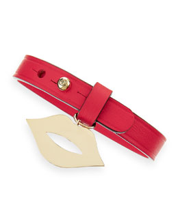 Sydney Evan 14-Karat Lips Leather Wrap Bracelet