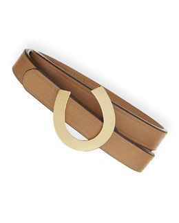 Sydney Evan 14-Karat Horseshoe Leather Wrap Bracelet