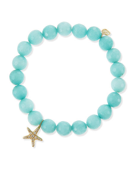 Pavé Starfish Aqua Jade Bead Bracelet with Diamonds