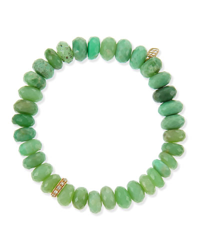 Pave Rondelle Chrysoprase Bead Bracelet with Diamonds
