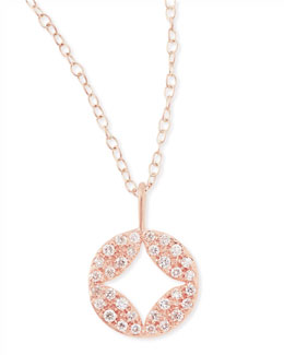 Jamie Wolf 18k Rose Gold Open Pendant Necklace with Pavé Diamonds