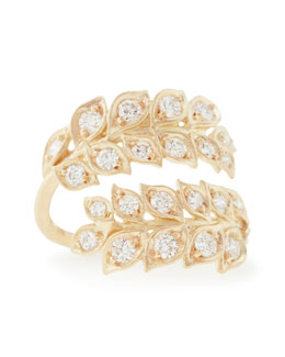 Jamie Wolf 18k Vine Wrap Ring with Diamonds, Size 7