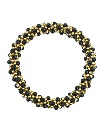 14k Gold and Black Onyx Bead Bracelet