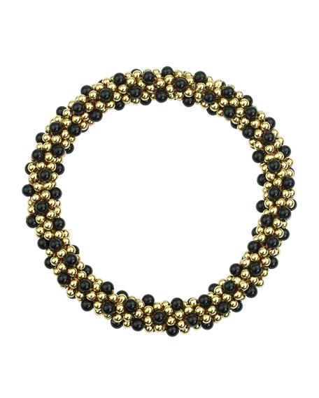 14k Gold and Black Onyx Bead Bracelet