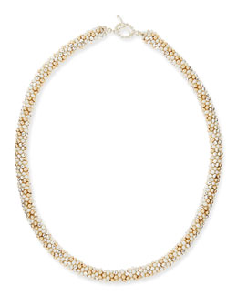 Meredith Frederick Sue Pearl, Silver and 14k Gold Necklace