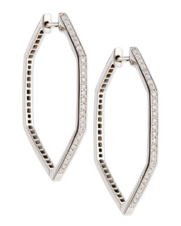 Stephen Webster 18K Deco Hoop Earrings with Black and White Diamonds