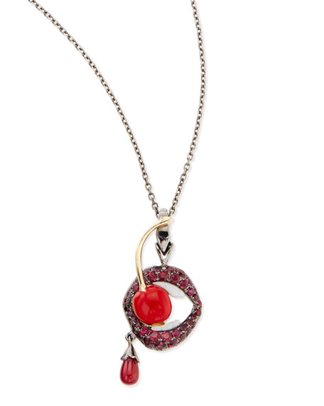 18K Gluttony Pendant Necklace with Rubies