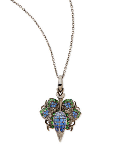 18K Pride Pendant Necklace with Diamonds, Sapphires, and Tsavorite