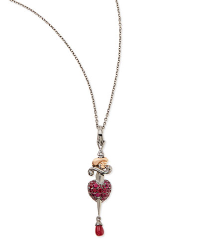 18K Wrath Pendant Necklace with Diamonds and Rubies