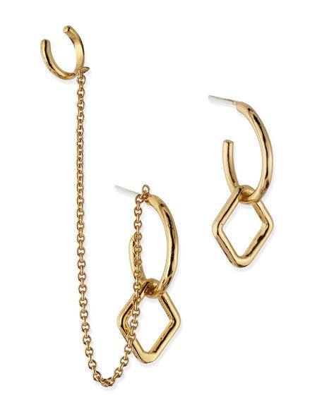 Mini Machina Gold Plate Earrings with Cuff