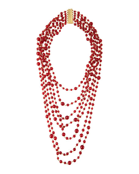 Pegaso Red Agate 7-Strand Necklace