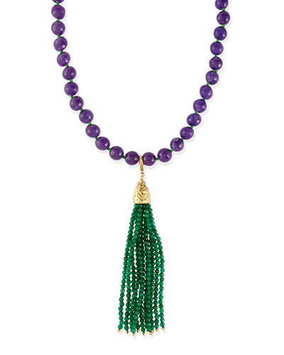 Himalaya Two-Tone Agate Tassel Necklace, Purple/Green