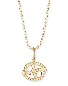 Pave Diamond Zodiac Necklace, Cancer