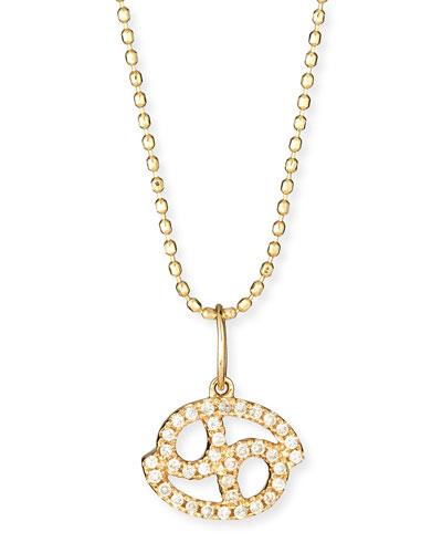 Pave Diamond Zodiac Necklace, Cancer