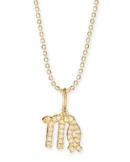 Pave Diamond Zodiac Necklace, Virgo