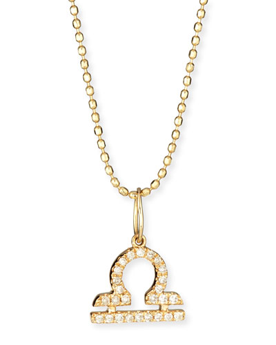 Pave Diamond Zodiac Necklace, Libra