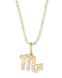Pave Diamond Zodiac Necklace, Scorpio