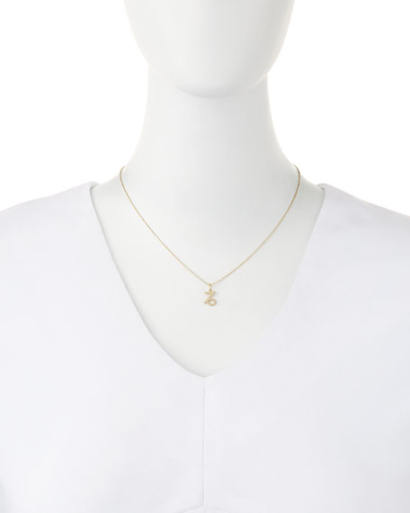 Pave Diamond Zodiac Necklace, Capricorn
