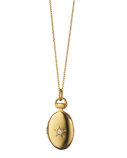 Petite Diamond Star Oval Locket Necklace