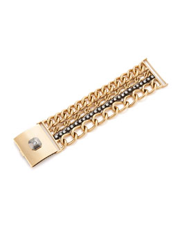 Contemporary 18K Yellow Gold and Silver 4 Row Chain and Diamond Bracelet