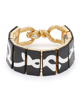 Contemporary Yellow Gold Plaque Pave Diamond and Black Jade Reversible Snake Bracelet