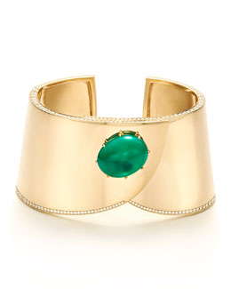 Contemporary Yellow Gold Emerald and Diamond Cuff Bracelet