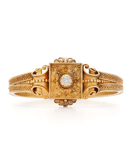 Estate Antique Gold and Old Mine Diamond Etruscan Revival Bangle