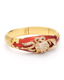 Estate Antique Yellow Gold, Red Enamel & Diamond Foliate Motif Bangle Bracelet, circa 1870s