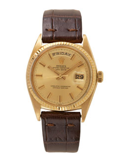 Rolex 18k Yellow Gold Day-Date Watch With Strap, c. 1968-1969