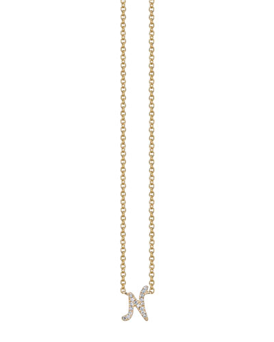 Pavé Diamond N Initial Pendant Necklace