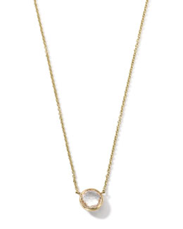 18K Gold Clear Quartz Mini Lollipop Necklace