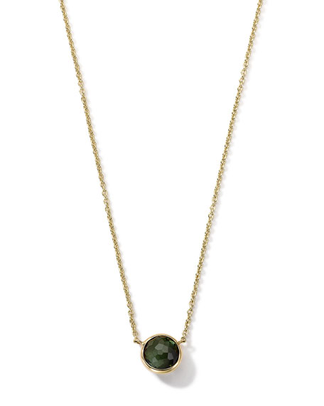 18K Gold Green Tourmaline Mini Lollipop Necklace