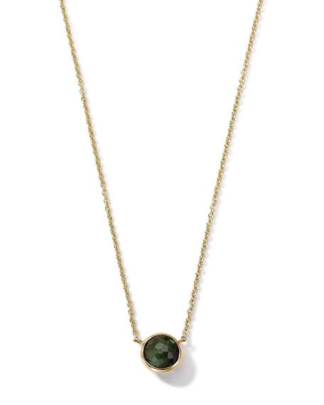 18K Gold Green Tourmaline Mini Lollipop Necklace