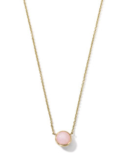 18K Gold Pink Opal Mini Lollipop Necklace
