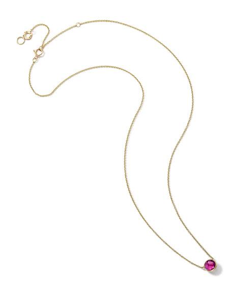 18K Gold Pink Tourmaline Mini Lollipop Necklace