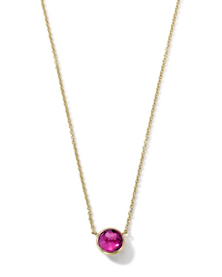 18K Gold Pink Tourmaline Mini Lollipop Necklace