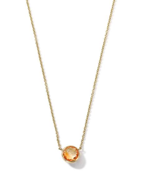 18K Gold Orange Citrine Mini Lollipop Necklace