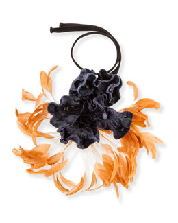 Flower & Feather Necklace, Navy