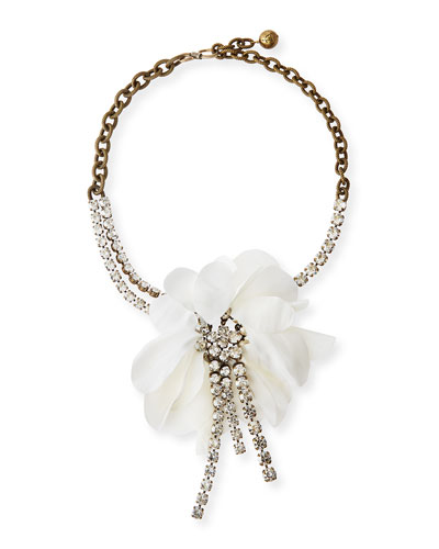 Flower Chain & Crystal Choker Necklace, White