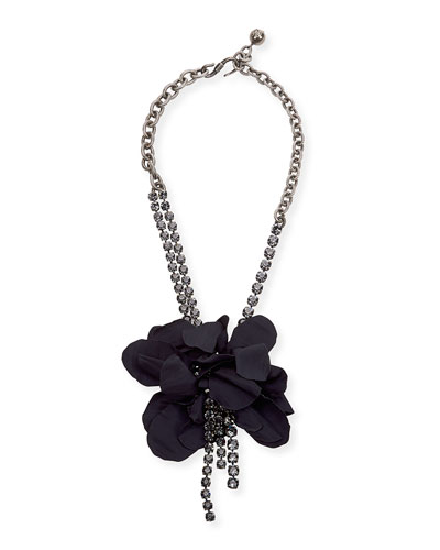 Crystal Flower-Petal Necklace, Dark Blue