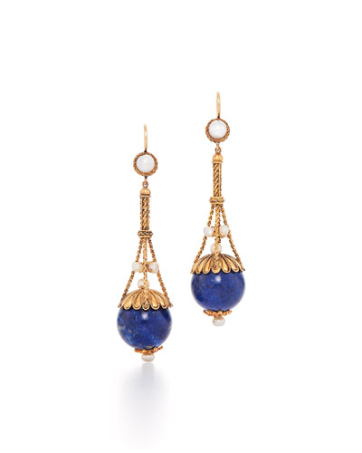 Victorian Lapis & Pearl Dangle Earrings