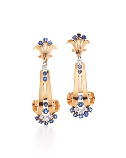 Sapphire & Diamond Retro Clip Earrings by Verger