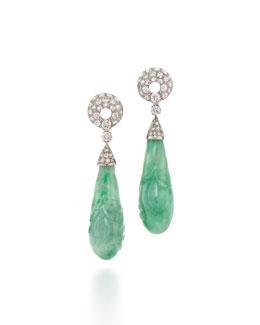 Carved Jade & Diamond Pendant Clip Earrings