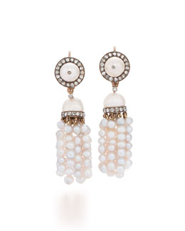 19th Century Pearl & Diamond Tassel Earrings