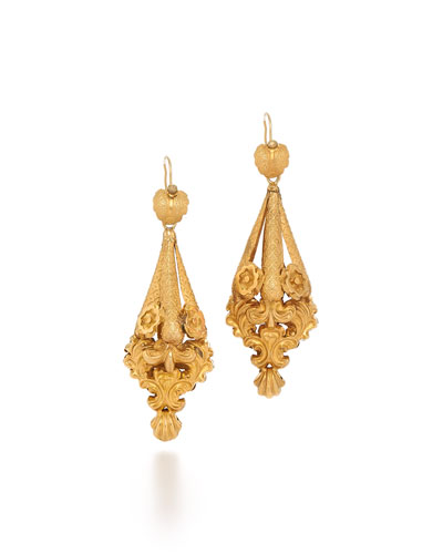 Victorian Gold Foliate Scrollwork Earrings