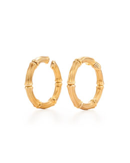 Gold Bamboo Hoop Clip Earrings, Signed Cartier